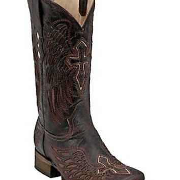 Corral Mens Distressed Chocolate w/Cognac Inlay Winged Cross Square Toe Western Boot