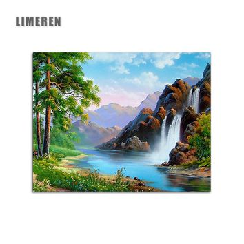 Spring Natural Scene Waterfall DIY Handpainted Pictures On Canvas Painting By Numbers For Unique Gift Living Room Wall Art