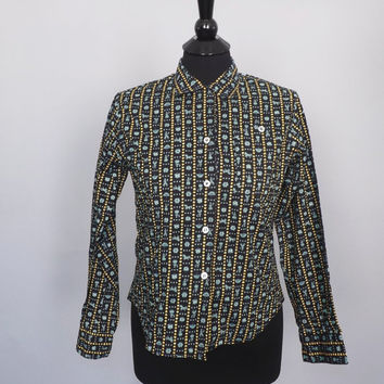 Vintage 1960s 70s Novelty Folk Print Cotton Button Up Blouse Top Shirt Prairie Folk Collar Rockabilly Medium 1950's Country Shirt Bavarian