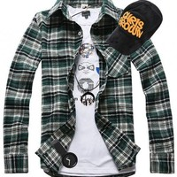Green Long Sleeve Lattice Korean Style Casual Easy Matching Men Cotton Shirt M/L/XL @WH0331gr $18.99 only in eFexcity.com.