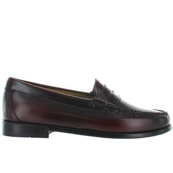 CREYONIG Bass Weejuns Whitney - Cordovan Leather Classic Penny Loafer