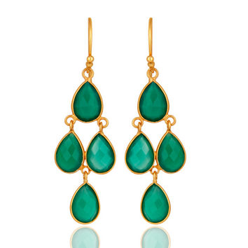 Gold Plated Sterling Silver Green Onyx Gemstone Designer Dangle Earrings