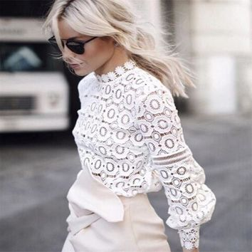 Lace Blouse Long Sleeve Women Casual White Blouse Shirt 2019 Spring Summer Sexy Hollow out Elegant Tops Cool Blouse Blusas
