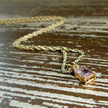 Genuine Amethyst Pendant Necklace, Emerald Cut, Rhinestone Accents,Gold Tone Rope Chain, February Birthstone Jewelry, Real Amethyst Gemstone