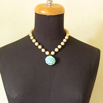 Blue Rose Beaded Necklace