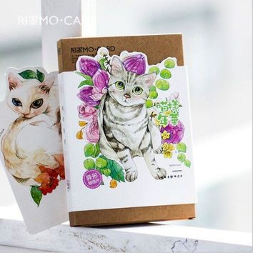 30 pcs/pack Lovey Cats & Blooming Flowers Greeting Card Postcard Birthday Letter Envelope Gift Card Set Message Card Escolar