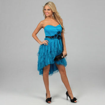Blondie Nites Juniors Teal Strapless Tulle High-low Party Dress | Overstock.com