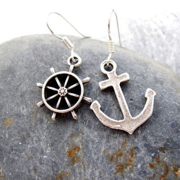 Anchor Earrings Nautical Jewelry Asymetrical Earrings Dangle Earrings for Women