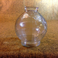 Glass Globe Bank - Clear Glass World - Earth Coin Bank - Textured Surface