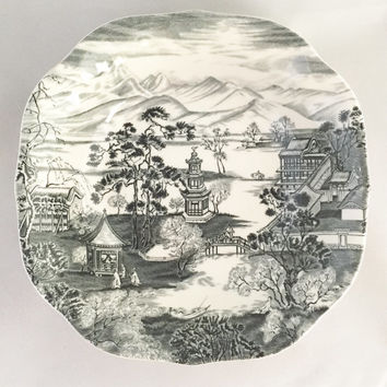 "Johnson Brothers 'Enchanted Garden"" black and cream Salad plates"