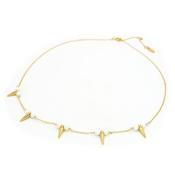"""Bullets & Pearls Gold Plated Sterling Silver Necklace, 16"""" + 2"""""""