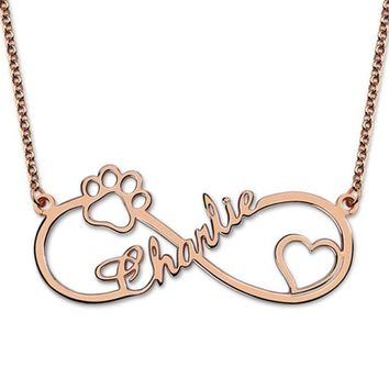 Gold Color Custom Name Necklace Girls Friendship Gift Stainless Steel Chain Infinity Love Pendant Women Body Jewelry 2018