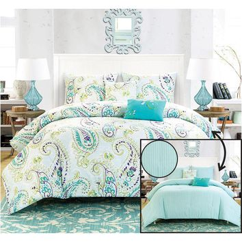 Reversible Comforter Set Paisley Print Blue Green Purple White
