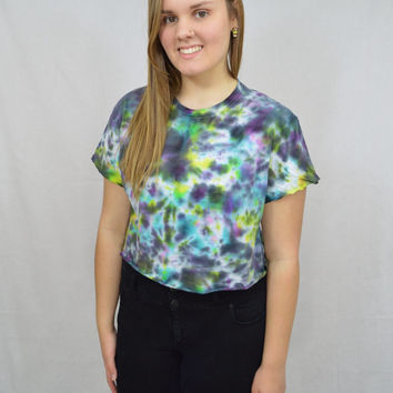 Tie Dye Shirt Soft Grunge Crop Top Hippie MED Galaxy Black Womens Tie Dye Clothing Handmade Bright Colorful Abstract Pattern Cutoff Tee