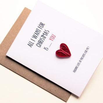 Funny Christmas Card - All I want for Christmas is You Card - Romantic Christmas Card
