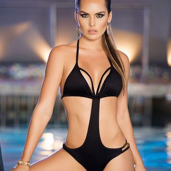Dare To Bare Sexy Black Monokini Colombian Swimsuit
