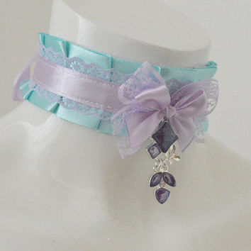 Kitten play collar - Violetta - ddlg little satin princess choker with big bow - kawaii cute fairy kei violet and blue neko girl gear