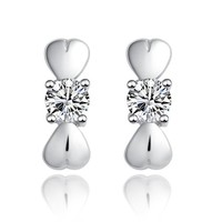 CoolGo Women Knot 925 Sterling Silver Stud Earrings with Cubic Zirconia CZ Pave Diamond