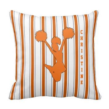 Orange Striped Cheerleader Pillow