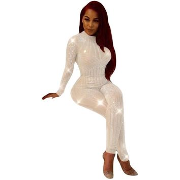 Women Sexy club party Long Sleeve See Through Rhinestone Diamonds Bodycon pant Jumpsuit mesh patchwork black white Skinny Romper