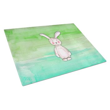 Bunny Rabbit Watercolor Glass Cutting Board Large BB7437LCB