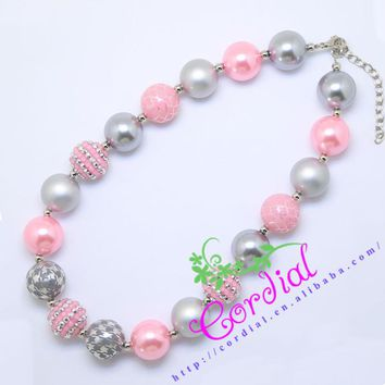 Hot Sell Free Shipping Cordial Design Kids Jewelry Cute Styles Handmade Chunky Bubblegum Beaded Necklace CDNL-410285
