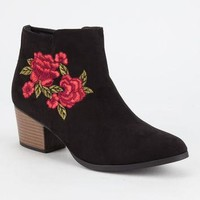 QUPID Embroidered Floral Womens Booties   Boots + Booties