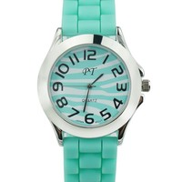 Mint Green Zebra-stripe Sports Watch