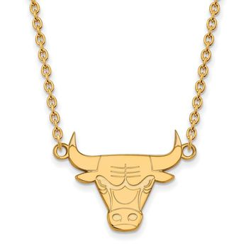 NBA 14k Gold Plated Silver Chicago Bulls Lg Pendant Necklace, 18 Inch