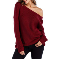 Ladies Burgundy Off The Shoulder Slouchy Pullover Sweater