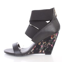 Black Elastic Strappy Single Sole Wedges Faux Leather