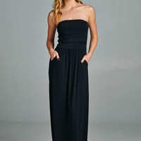 The Layla Black Strapless Solid Maxi Dress