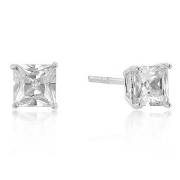 5mm Sterling Silver Princess Square Stud Earrings