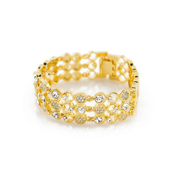 Cubic Zirconia Sterling 18K Plated Gold Polished Bracelet