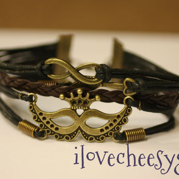 MAJESTIC~ Mardi Gras New Orleans Cajun Mask Believe Love Handmade Handcrafted Multilayer Wrap Black  Leather Bracelet ilovecheesygrits
