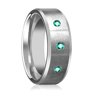 LEVI Brushed and Beveled Tungsten Wedding Ring with 3 Green Emerald Setting