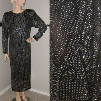 Vintage 80's Black Diamante Dress, New Years, Celebration, Formal, Cocktail Dress, Special Occasion, One of a Kind Dress