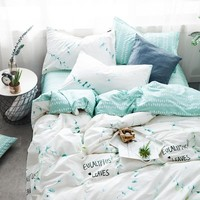 100% Cotton Floral Grass Bedding Set Cartoon Modern Flower Queen Size Stripe Bed Duvet Cover Bed Sheet Bed Pillow