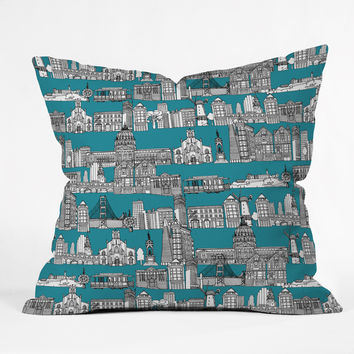 Sharon Turner San Francisco Teal Throw Pillow