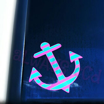Two color striped Nautical Anchor Decal you pick colors