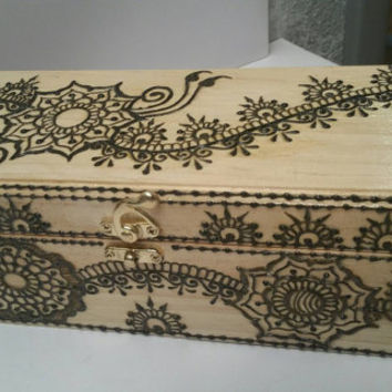 Biggest Henna Stash Box Made by Artist, Steamroller box,  Dab rig box,  Keepsake Box,  13x4x2.5 inches approx.