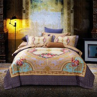 Luxury Bohemia Mandela Bedding set 100S Egypt Cotton  Queen/King Size Tribute Silk Bed set Duvet Cover  Bedsheet Pillowcase