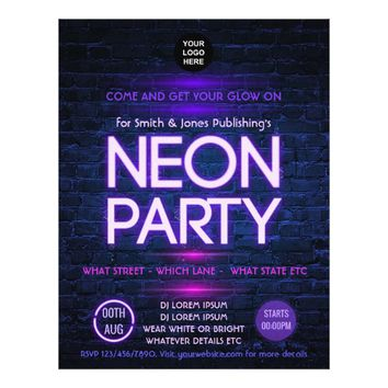 Glow in the Dark Neon Corporate party invitation Flyer