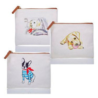 Dog Themed Flat Zip Canvas Bags