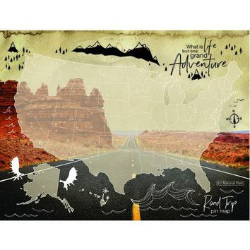 USA Road Trip Pin Map Tapestry