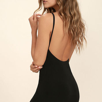 Lucky Day Black Backless Bodycon Dress