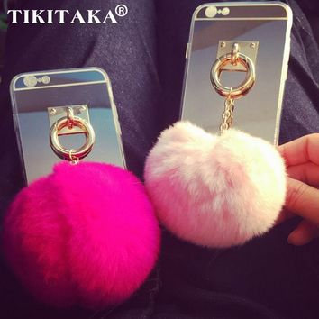 Luxury Mirror TPU Mirror Back Cover Golden Pendant Stand Holder Colorful Soft Fur Ball Phone Case For Iphone 5 5S SE 6 6S Plus