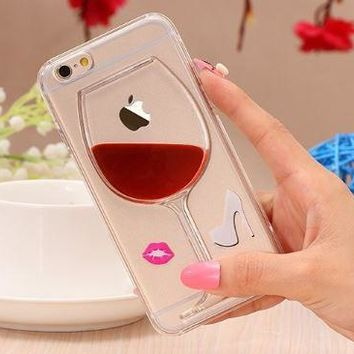 Transparent Phone Case with a Liquid Flowing Vino Glass