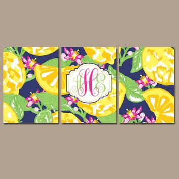 MONOGRAM Wall Art, Lemon Flower Art, Girl Monogram Floral Decor, Yellow Navy Pink Lime, Lilly Baby Girl Nursery, CANVAS or Print, Set of 3