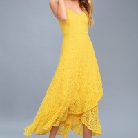 Saunter Along Yellow Lace Midi Dress